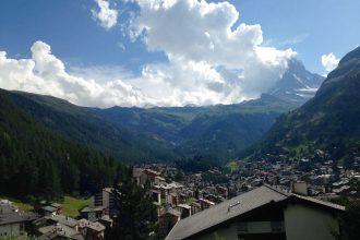 Blick vom Chalet auf das Matterhorn