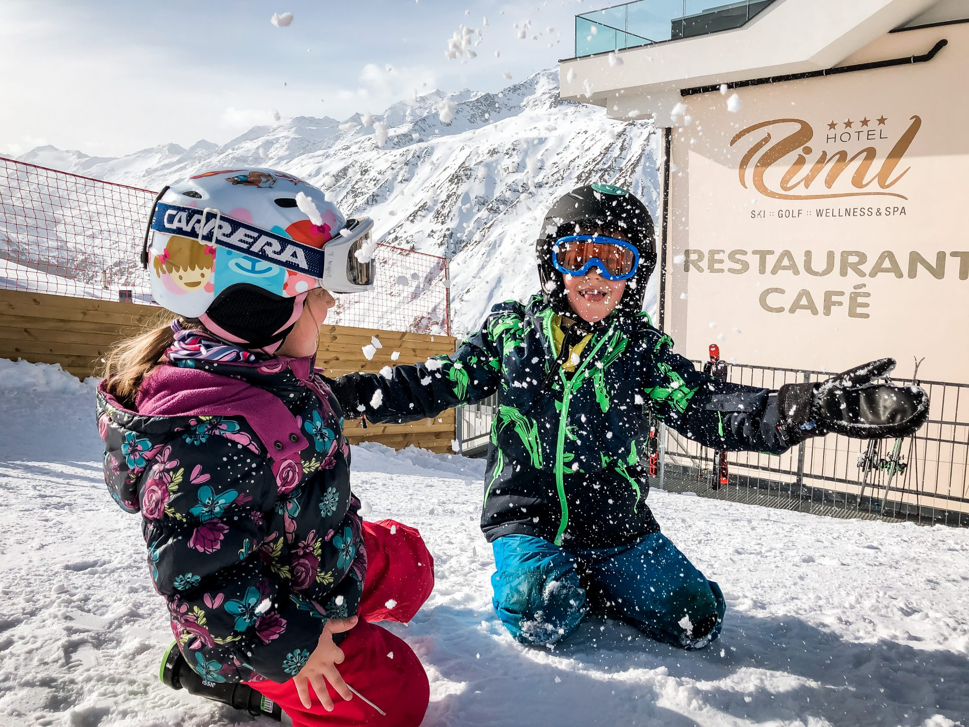 Ski vacation with children on the slopes